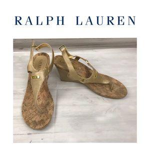 Ralph Lauren Gold Sandals.m Sz 8.5